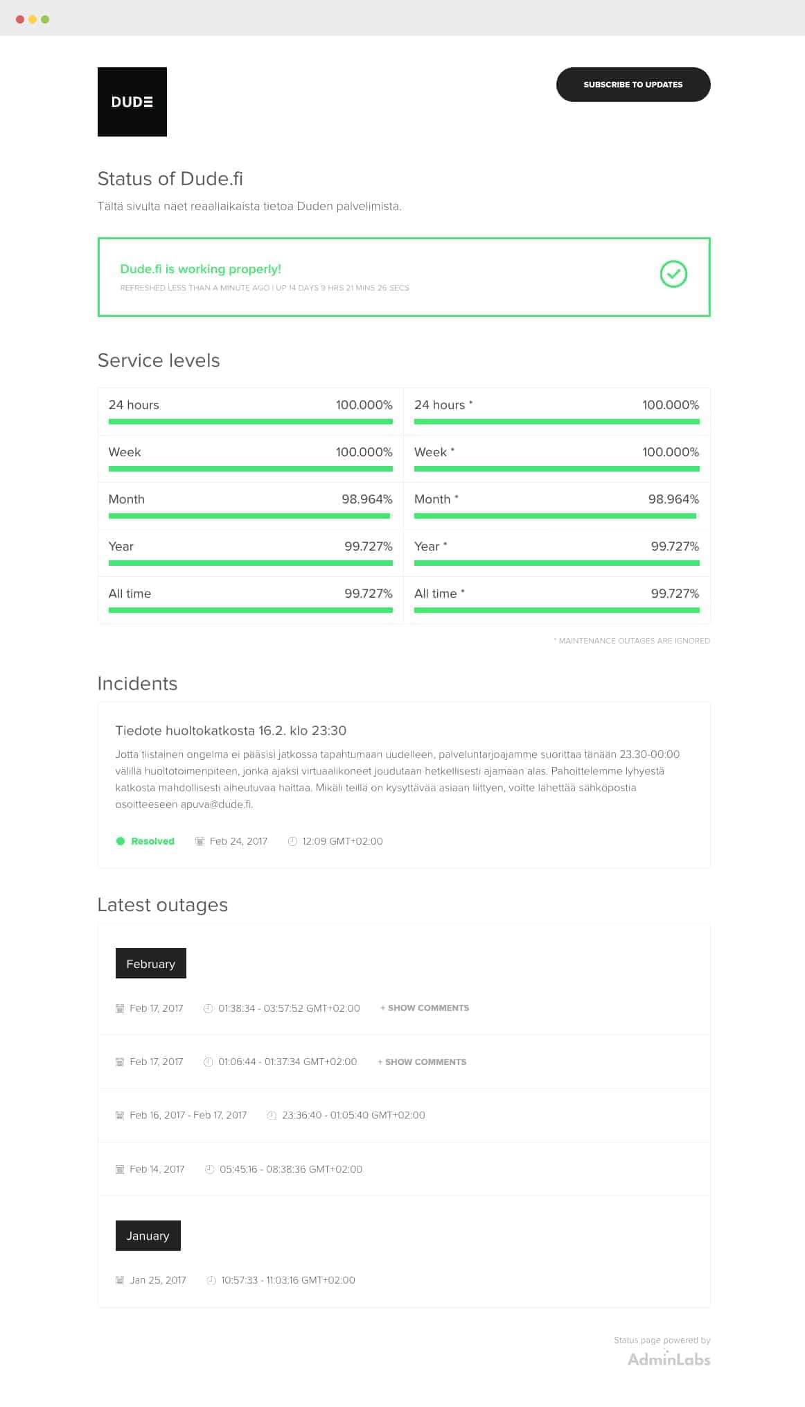 AdminLabs Status Page